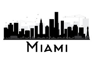 Miami City Skyline Silhouette