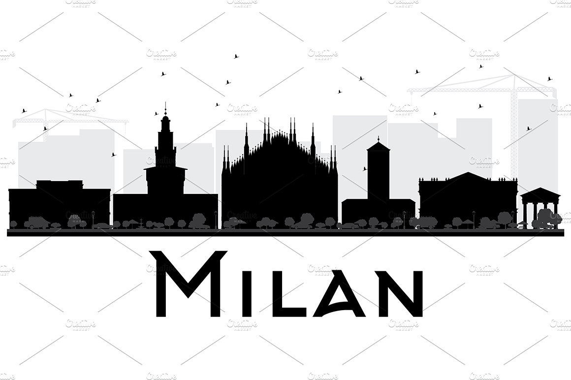 Milan City Skyline Silhouette ~ Illustrations ~ Creative ...