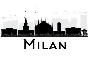 Milan City Skyline Silhouette
