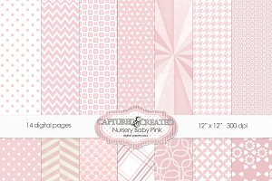 Nursery Baby Pink Digital Paper Pack