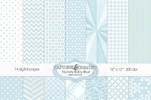 Nursery Baby Blue Digital Paper Pack
