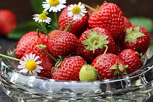 Strawberries with camomiles
