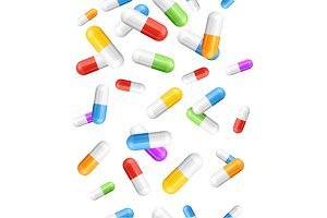 Falling Pills Capsules Background