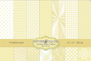Nursery Baby Yellow Digital Paper