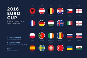 Euro Cup 2016 Football Team Flags