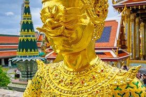 Golden guardian statue