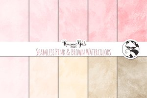 Seamless Pink and Brown Watercolors