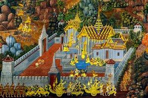 Thai mural. Bangkok