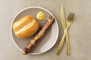 Bratwurst with bread roll