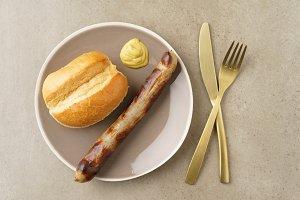 Bratwurst with bread roll