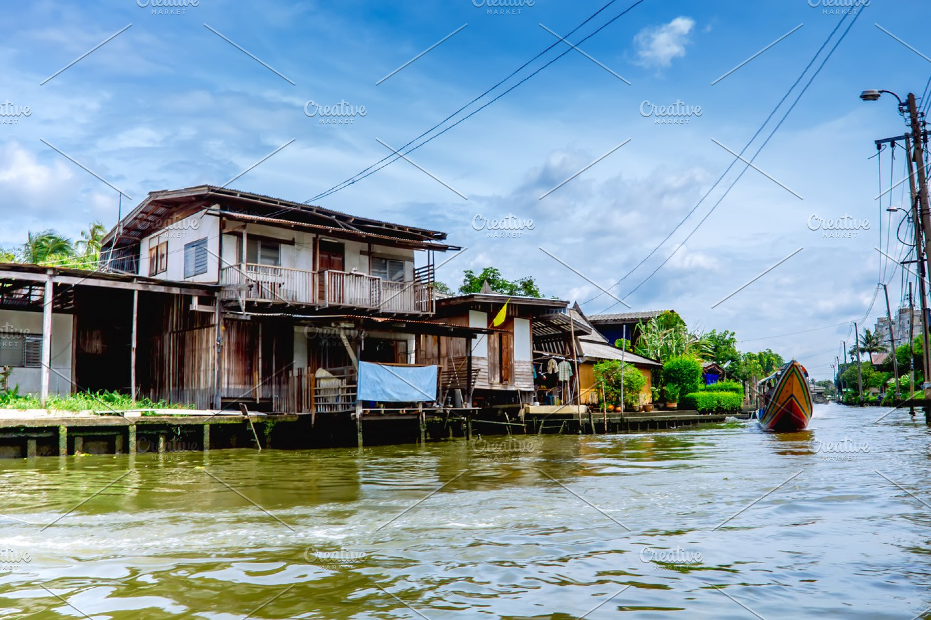 Save wooden houses on stilts