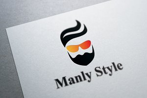 Stylish Beard and Hair Logo Template