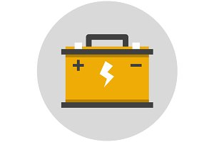 Car battery flat icon