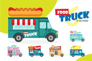Set of vector food trucks