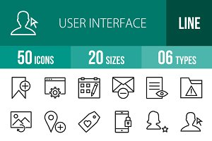 50 User Interface Line Icons