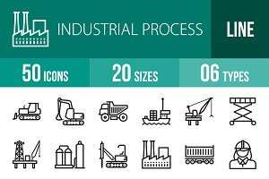 50 Industrial Process Line Icons
