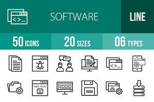 50 Software Development Line Icons