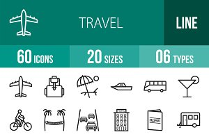 60 Travel Line Icons