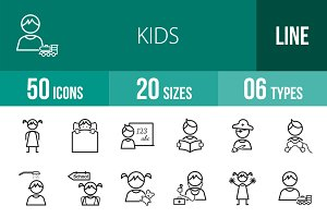 50 Kids Line Icons