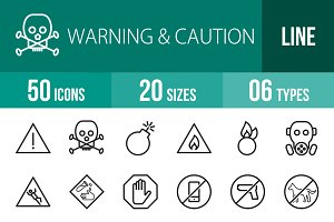 50 Warning & Caution Line Icons