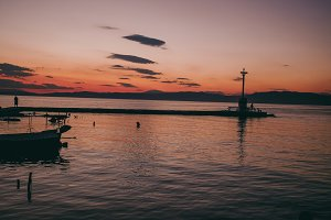 Beautiful sunset in harbor