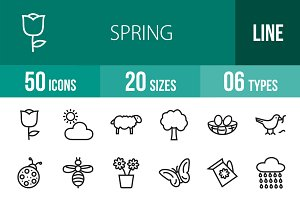 50 Spring Line Icons