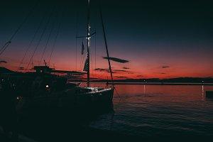 Beautiful harbor in the evening