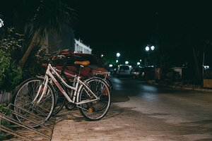 Bicycle in the evening lights