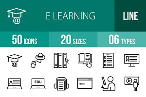 50 E Learning Line Icons