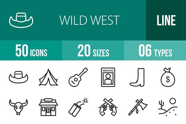 50 Wild West Line Icons