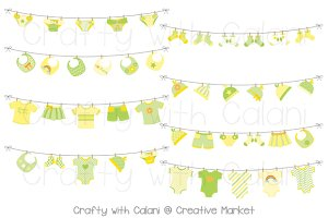 Yellow Green Baby Laundry Bunting