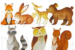 Watercolor forest animals