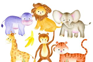 Watercolor jungle animals