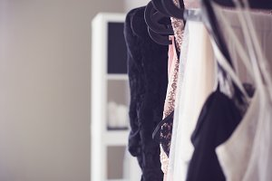 Wardrobe with glamour dresses