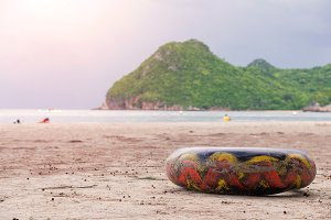 ring buoy on the beach