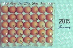 Calendar vintage style, January 2015