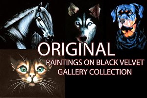 Original paintings on black velvet