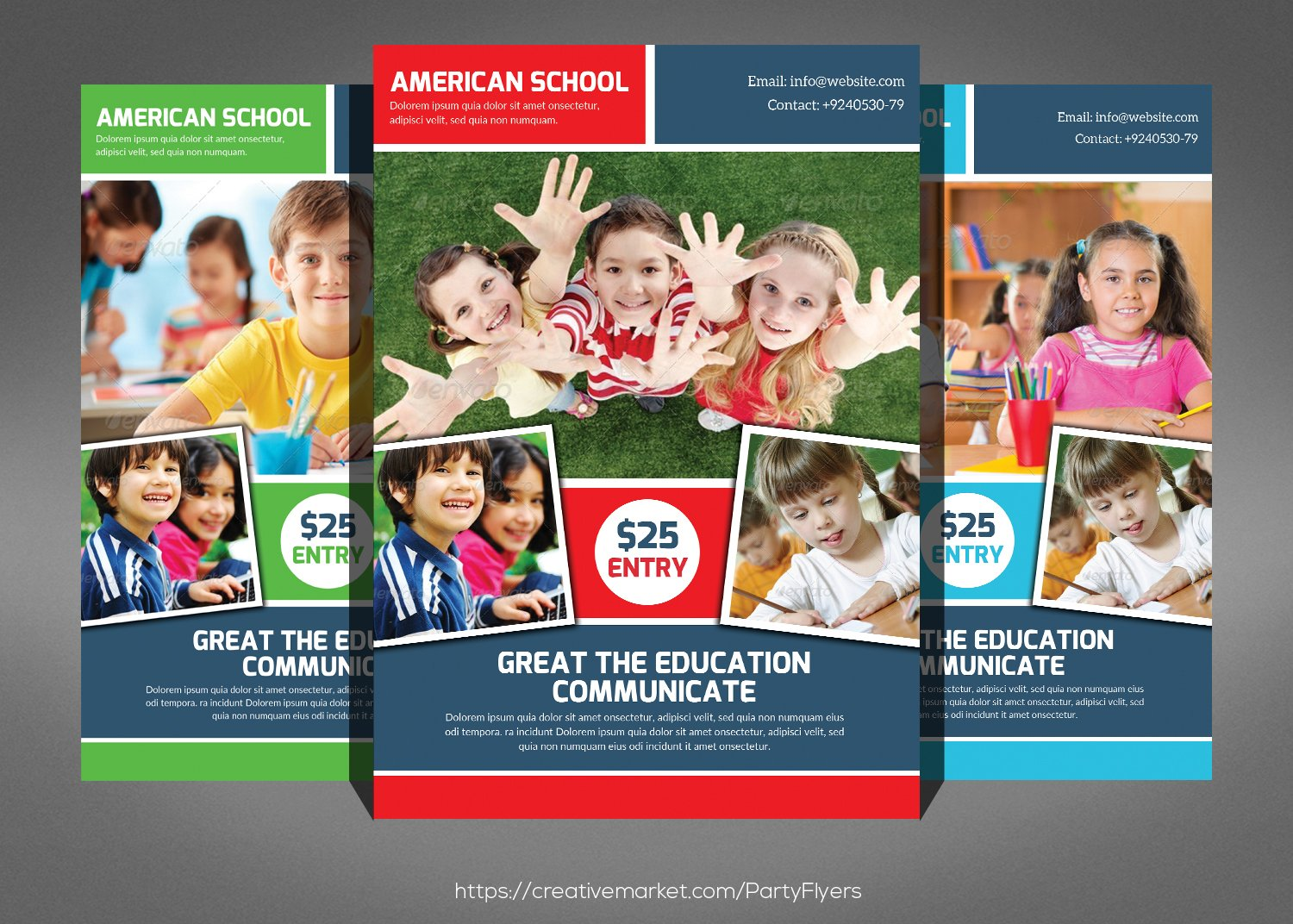 university college study flyer flyer templates on creative market kids school education flyer template