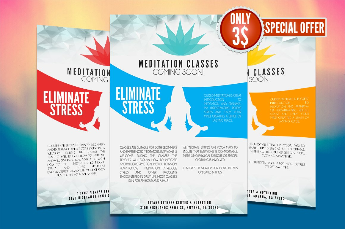 Yoga flyer template flyer templates creative market for Yoga brochure templates