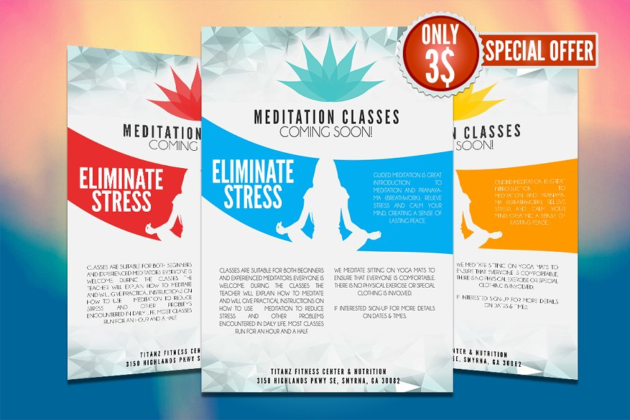 Yoga Flyer Template Creative Illustrator Templates Creative Market