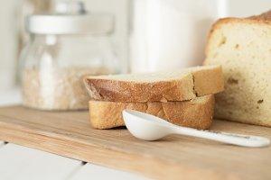 Slices of  fresh white bread