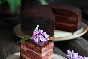 piece of homemade chocolate cake