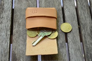 Leather Wallet with Money and Key