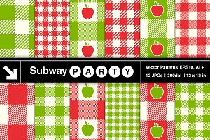 Vector Apple Jam Gingham Red Green