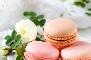 strawberry and chocolate macaroon