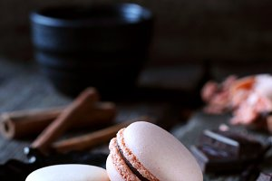 two chocolate macaroon