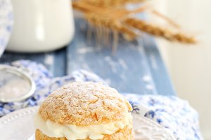one choux pastry stuffed with cream