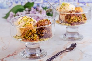 Baklava with ice cream. Arabic sweet