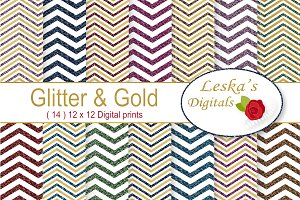 Glitter and Gold Chevron