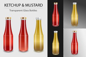 Ketchup and Mustard glass bottles.